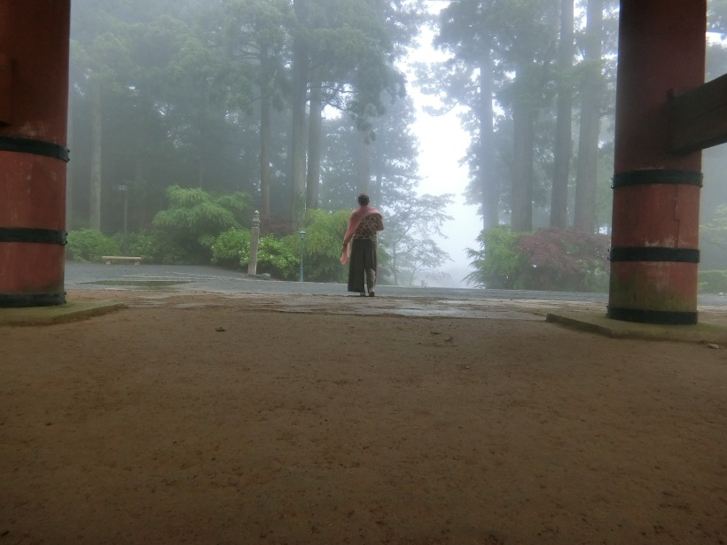 walking through the mist on koyasan